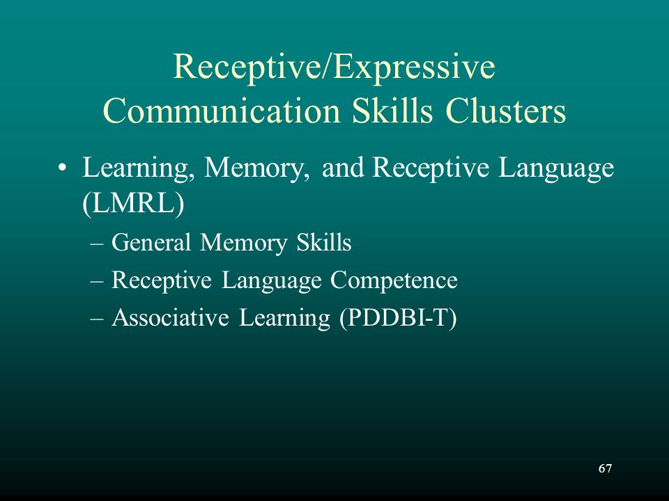 Receptive/Expressive Communication Skills Clusters