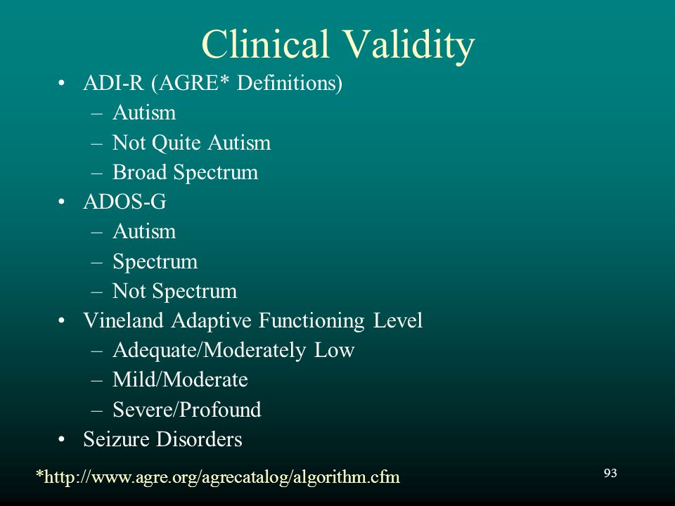 Clinical Validity ADI-R (AGRE* Definitions) Autism Not Quite Autism