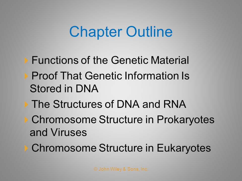 Chapter Outline Functions of the Genetic Material