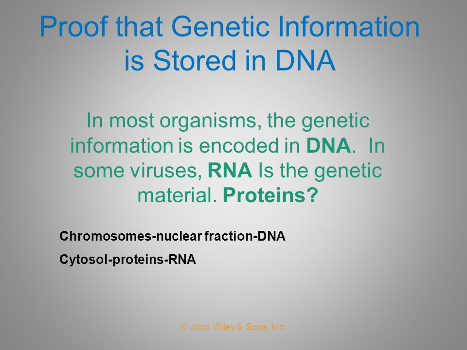 Proof that Genetic Information is Stored in DNA