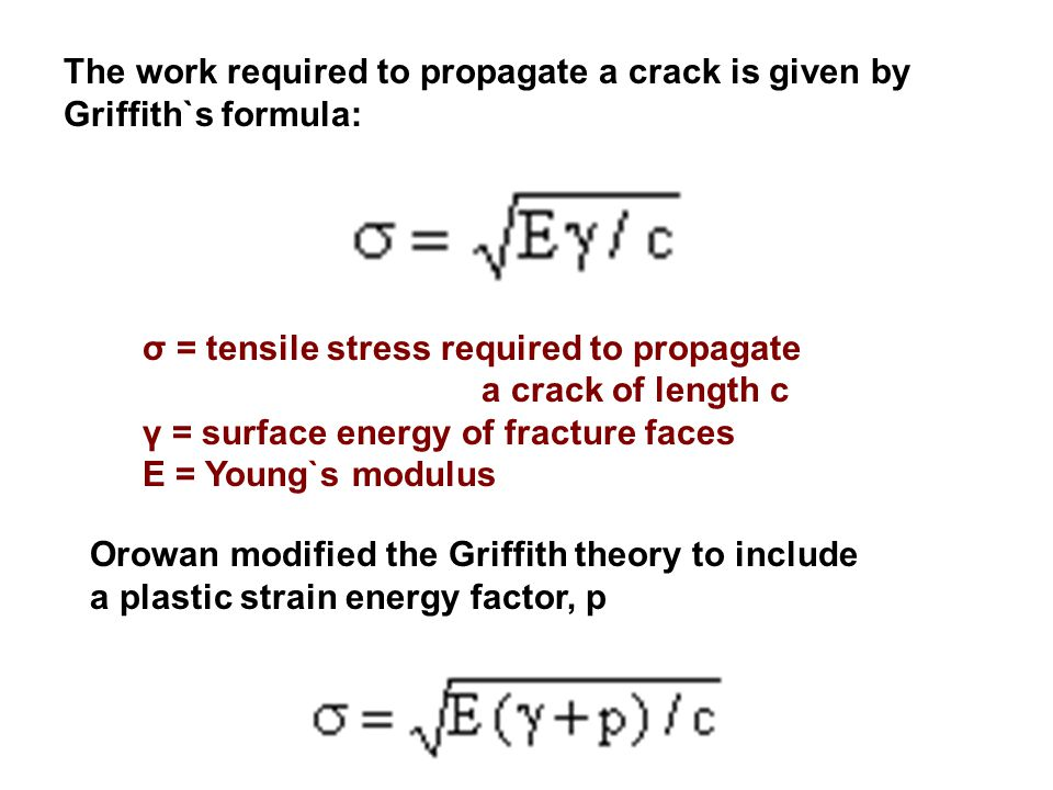 The work required to propagate a crack is given by