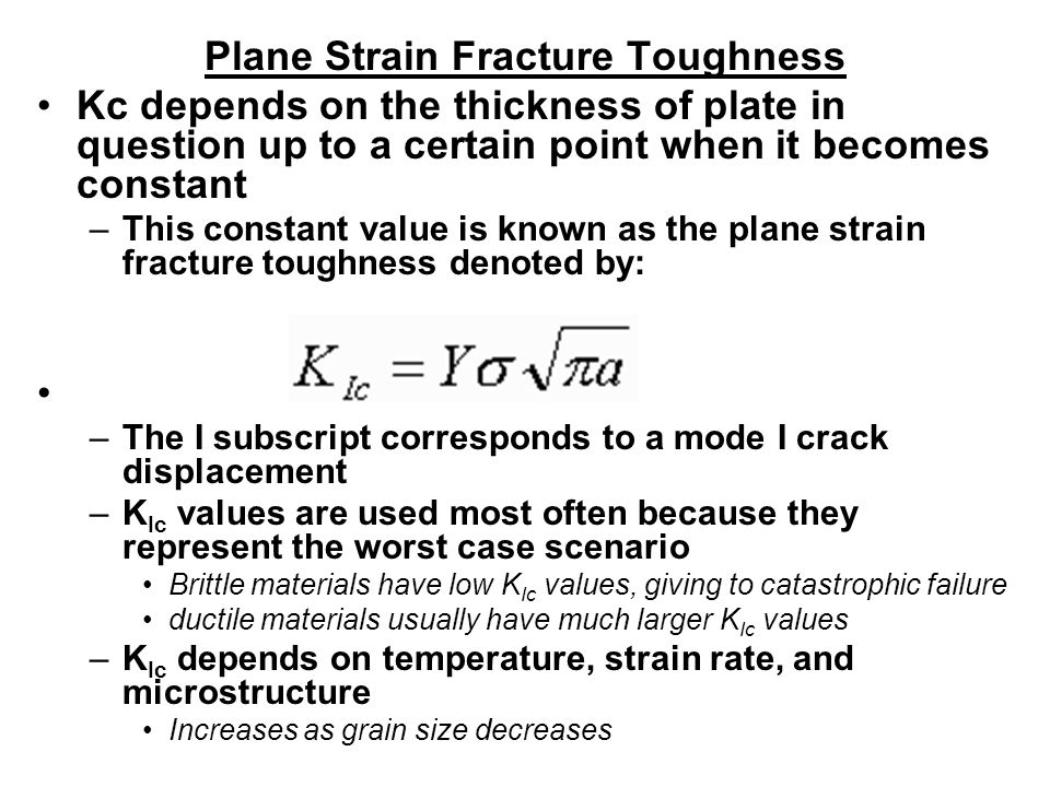 Plane Strain Fracture Toughness