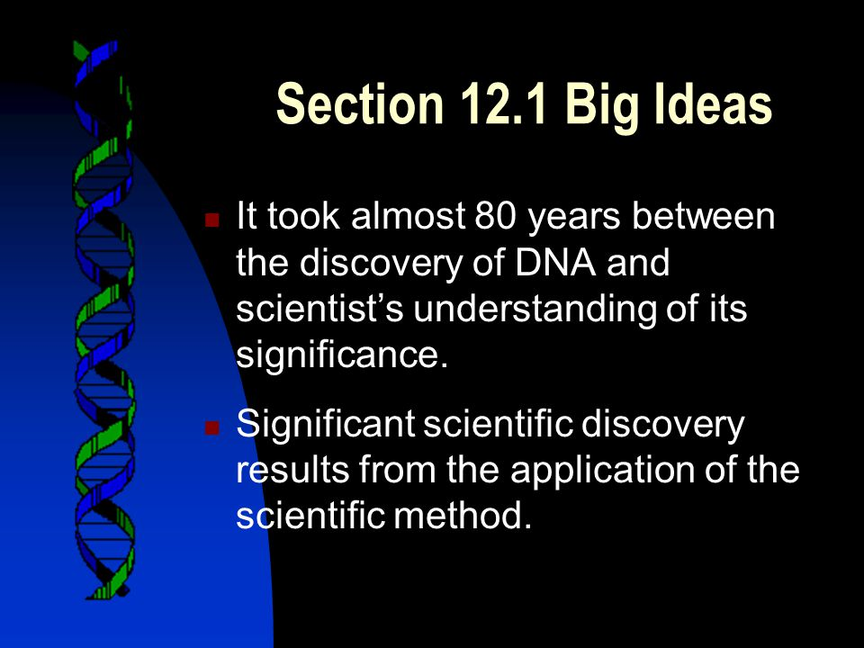 Section 12.1 Big Ideas It took almost 80 years between the discovery of DNA and scientist's understanding of its significance.