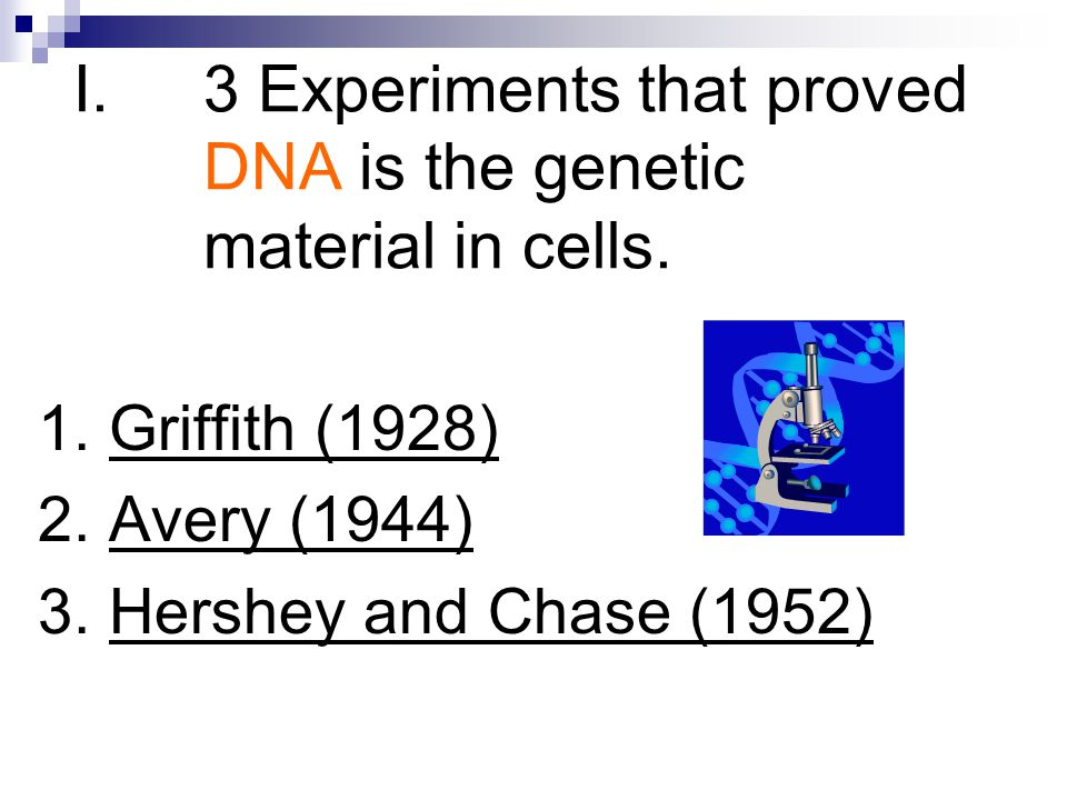3 Experiments that proved DNA is the genetic material in cells.