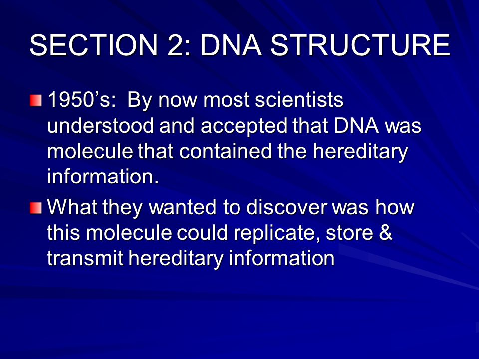 SECTION 2: DNA STRUCTURE