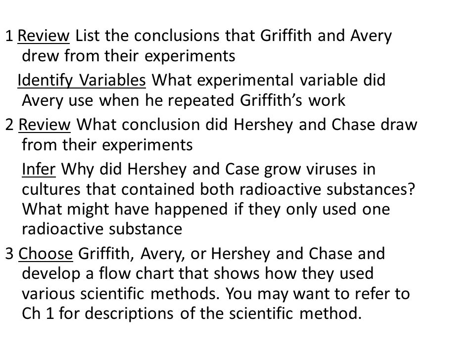 1 Review List the conclusions that Griffith and Avery drew from their experiments