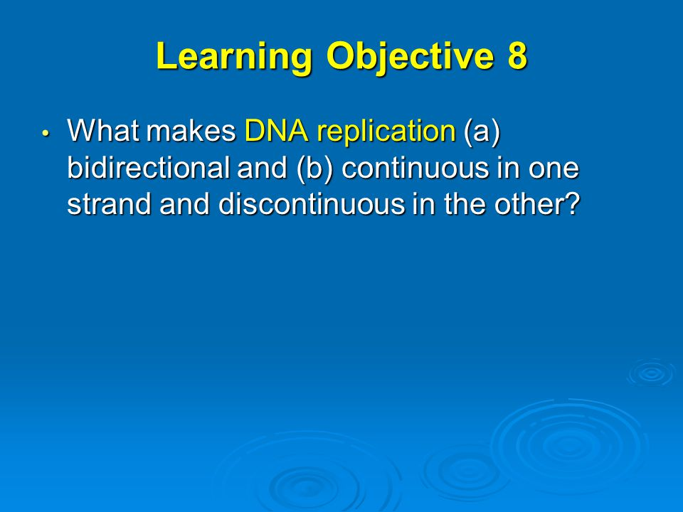 Learning Objective 8 What makes DNA replication (a) bidirectional and (b) continuous in one strand and discontinuous in the other