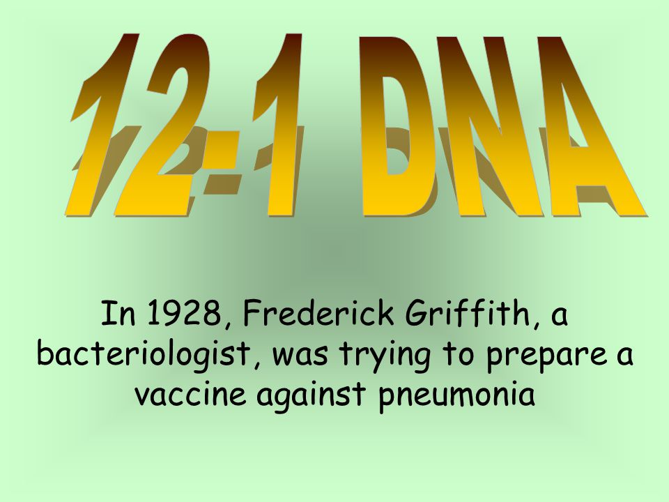 12-1 DNA In 1928, Frederick Griffith, a bacteriologist, was trying to prepare a vaccine against pneumonia.