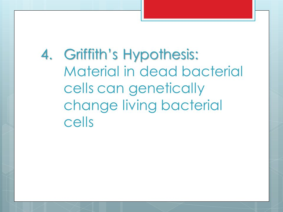 Griffith's Hypothesis: Material in dead bacterial cells can genetically change living bacterial cells