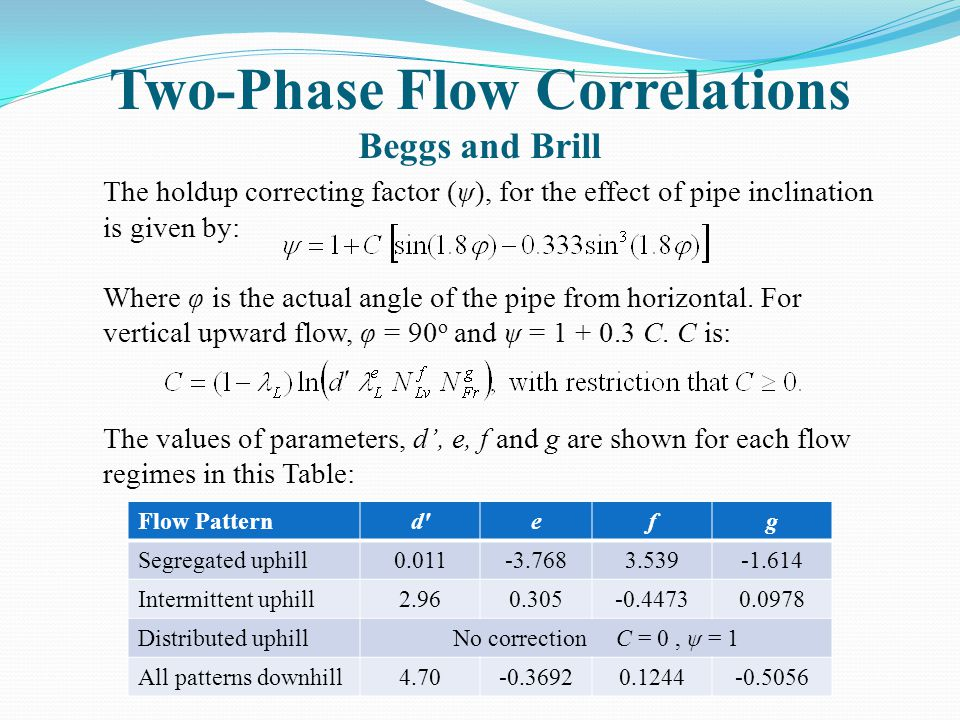Two-Phase Flow Correlations Beggs and Brill