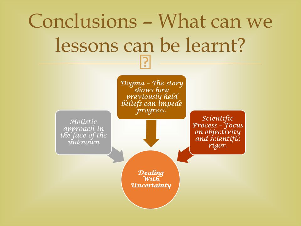 Conclusions – What can we lessons can be learnt