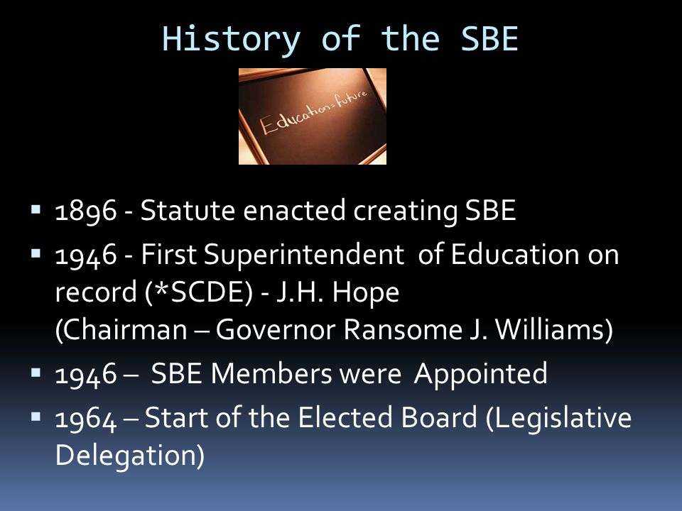 History of the SBE 1896 - Statute enacted creating SBE