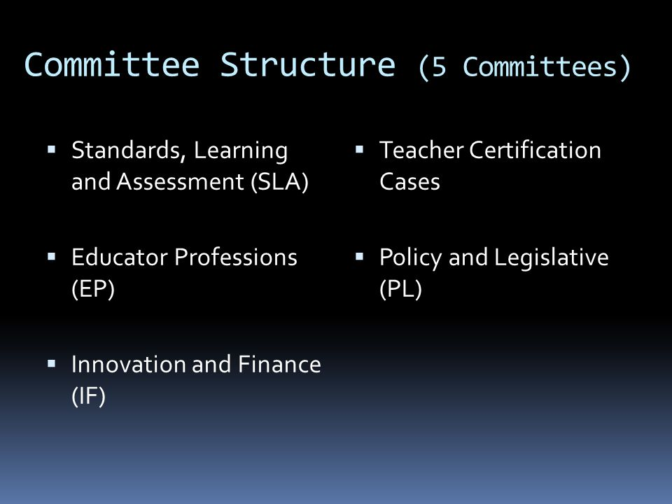Committee Structure (5 Committees)