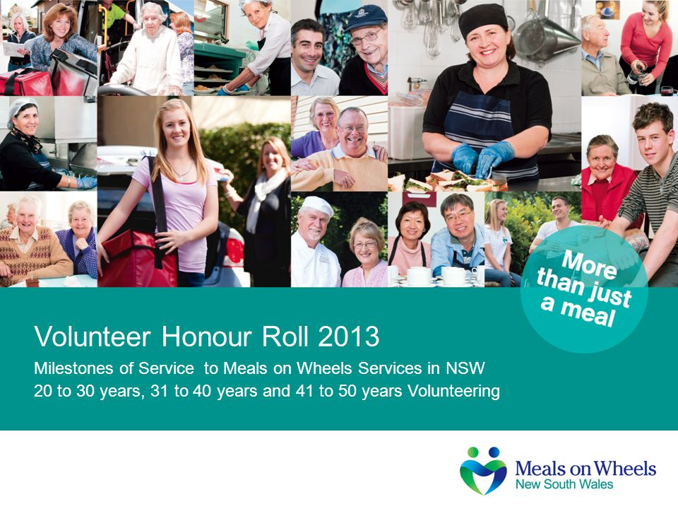 Volunteer Honour Roll 2013 Milestones of Service to Meals on Wheels Services in NSW.