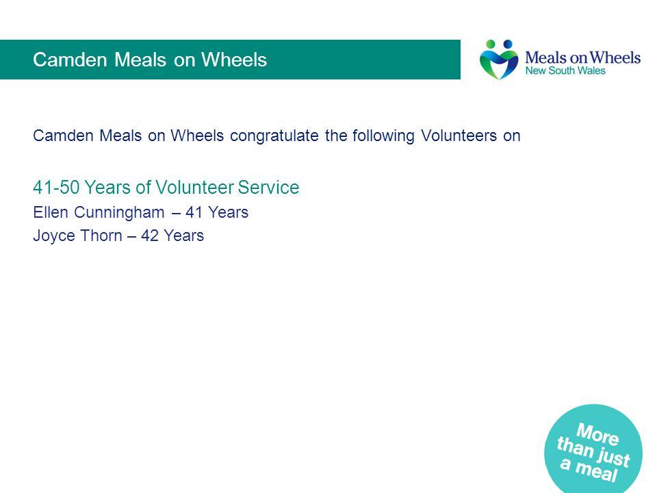 Camden Meals on Wheels 41-50 Years of Volunteer Service
