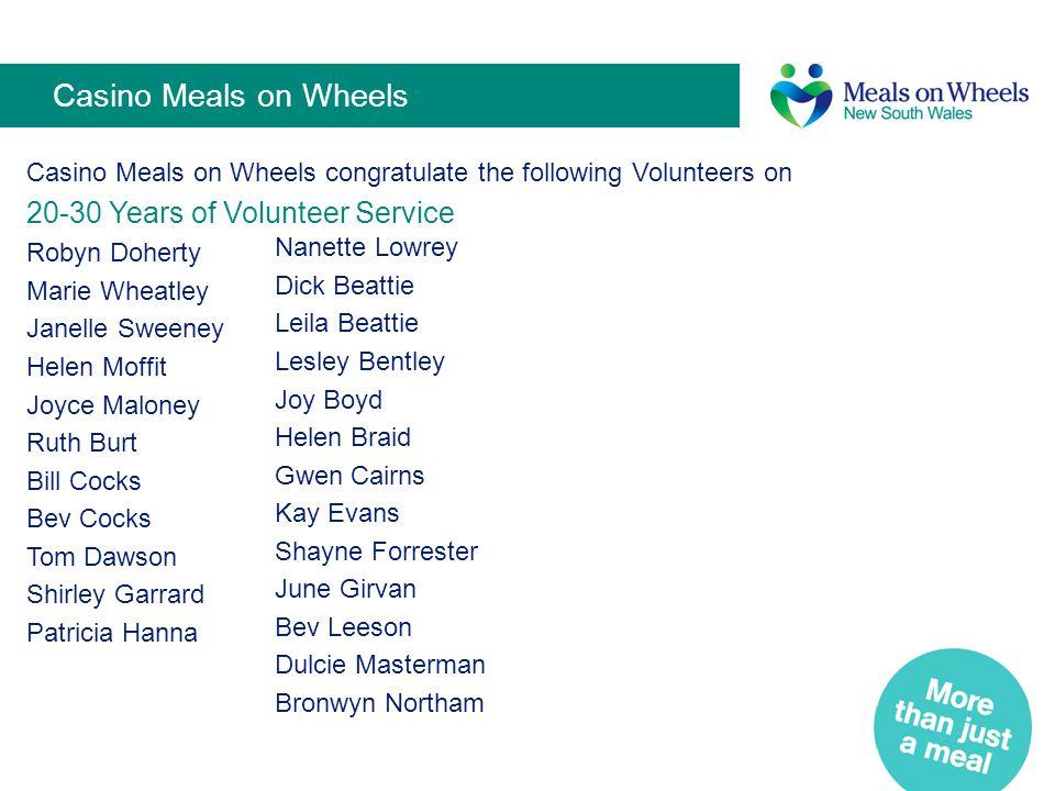 Casino Meals on Wheels 20-30 Years of Volunteer Service