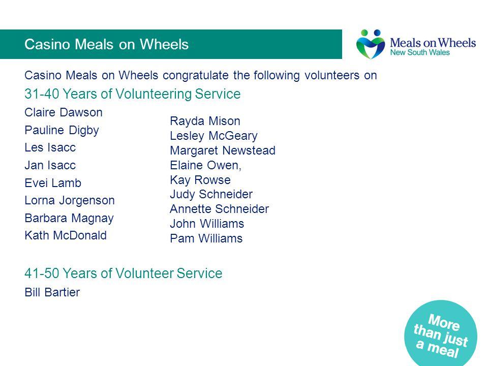 Casino Meals on Wheels 31-40 Years of Volunteering Service
