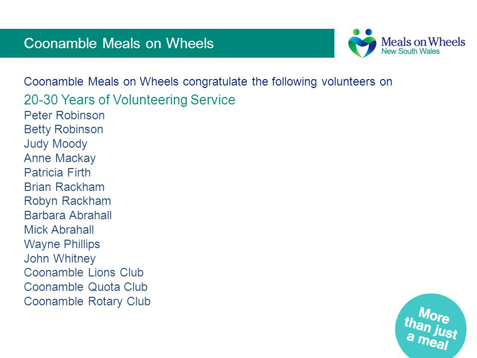 Coonamble Meals on Wheels