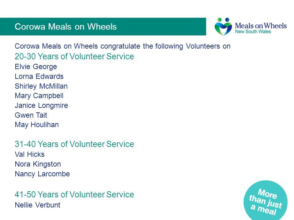 Corowa Meals on Wheels 20-30 Years of Volunteer Service