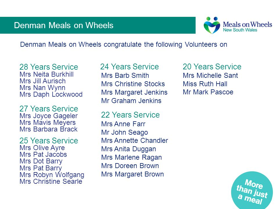 Denman Meals on Wheels Denman Meals on Wheels congratulate the following Volunteers on.
