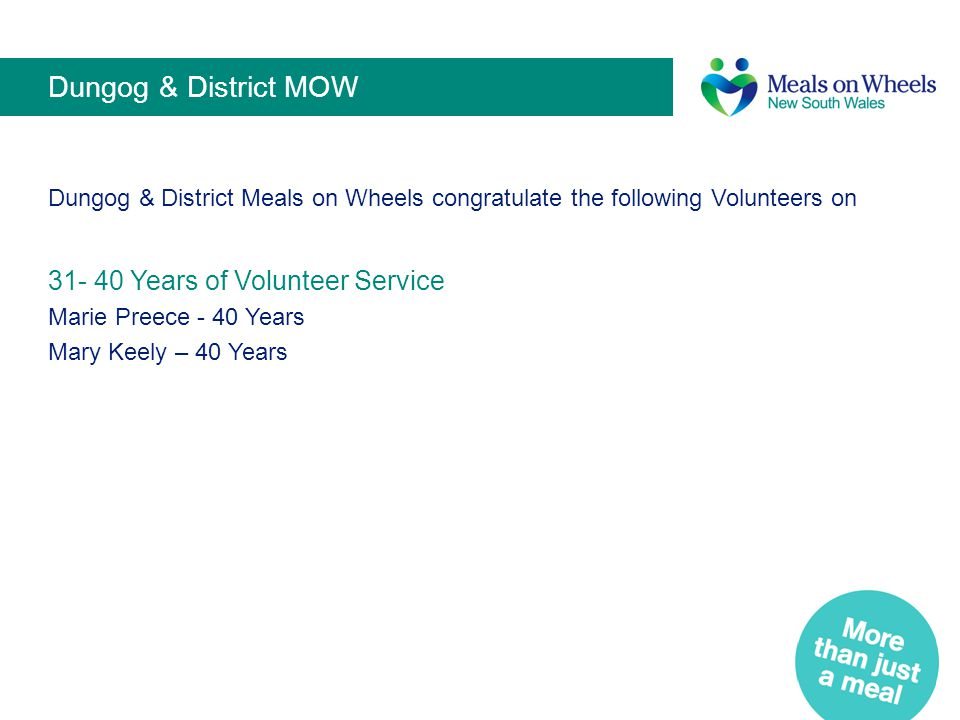 Dungog & District MOW 31- 40 Years of Volunteer Service