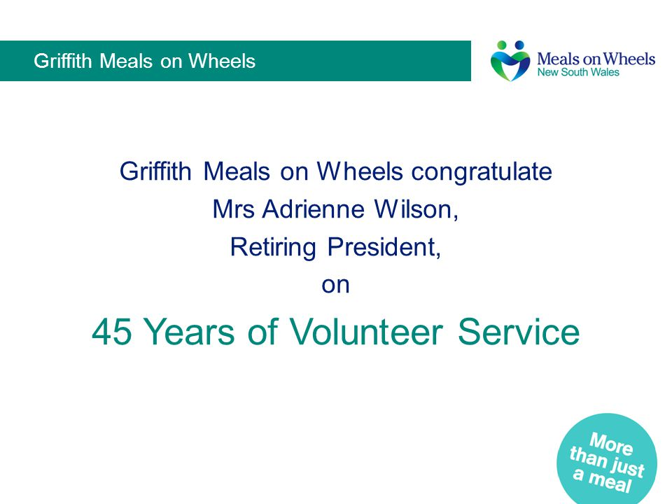 Griffith Meals on Wheels
