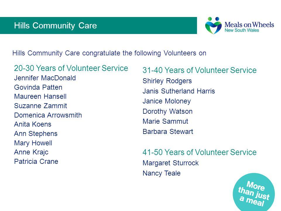 Hills Community Care 20-30 Years of Volunteer Service