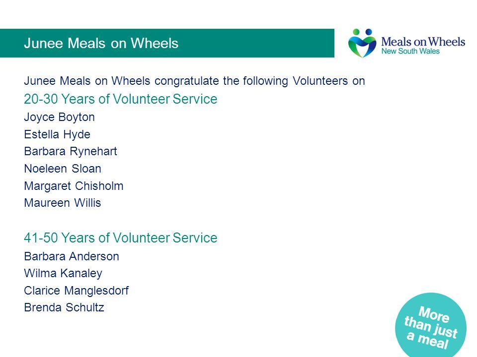 Junee Meals on Wheels 20-30 Years of Volunteer Service