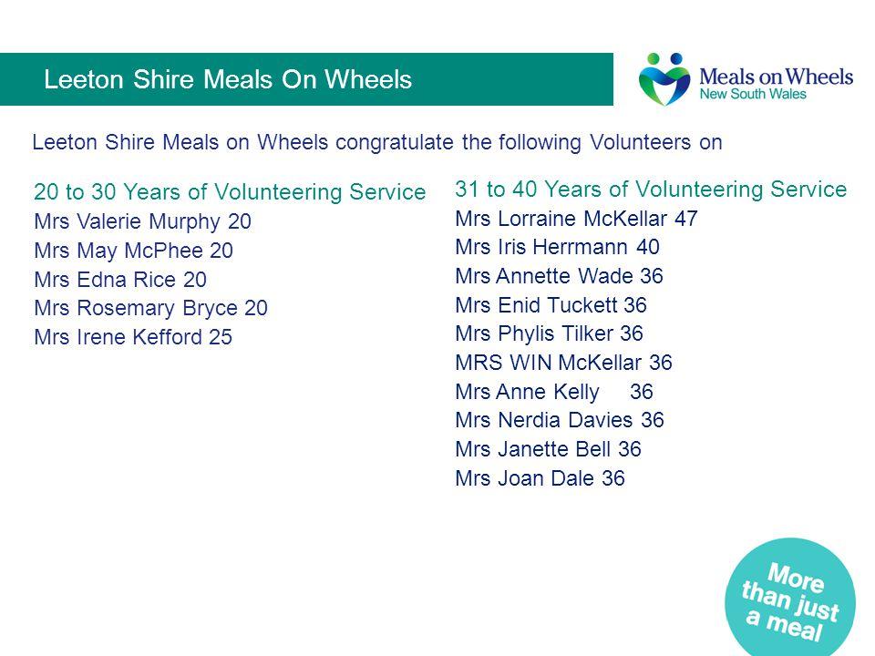 Leeton Shire Meals On Wheels