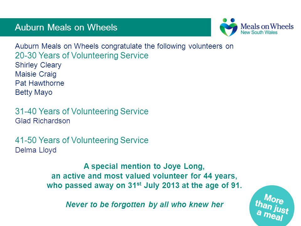 Auburn Meals on Wheels 20-30 Years of Volunteering Service