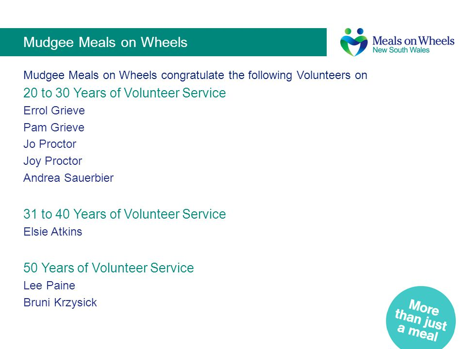 Mudgee Meals on Wheels 20 to 30 Years of Volunteer Service