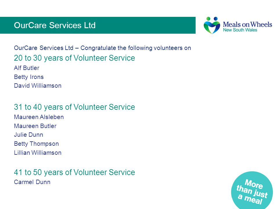 OurCare Services Ltd 20 to 30 years of Volunteer Service