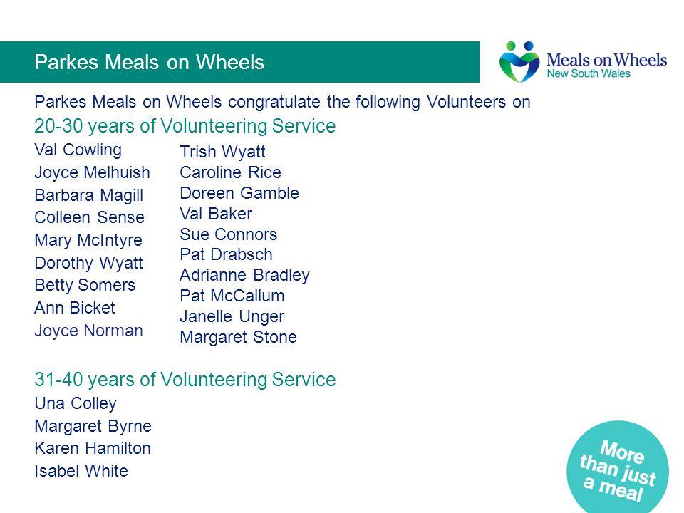Parkes Meals on Wheels 20-30 years of Volunteering Service