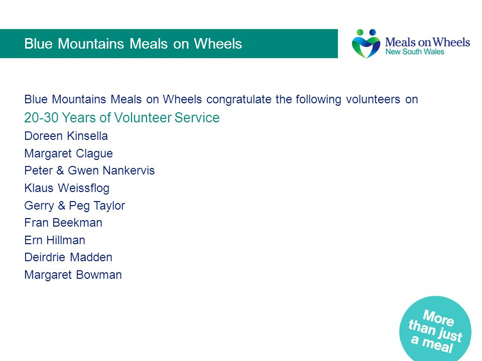 Blue Mountains Meals on Wheels