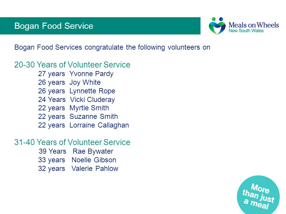 Bogan Food Service 20-30 Years of Volunteer Service