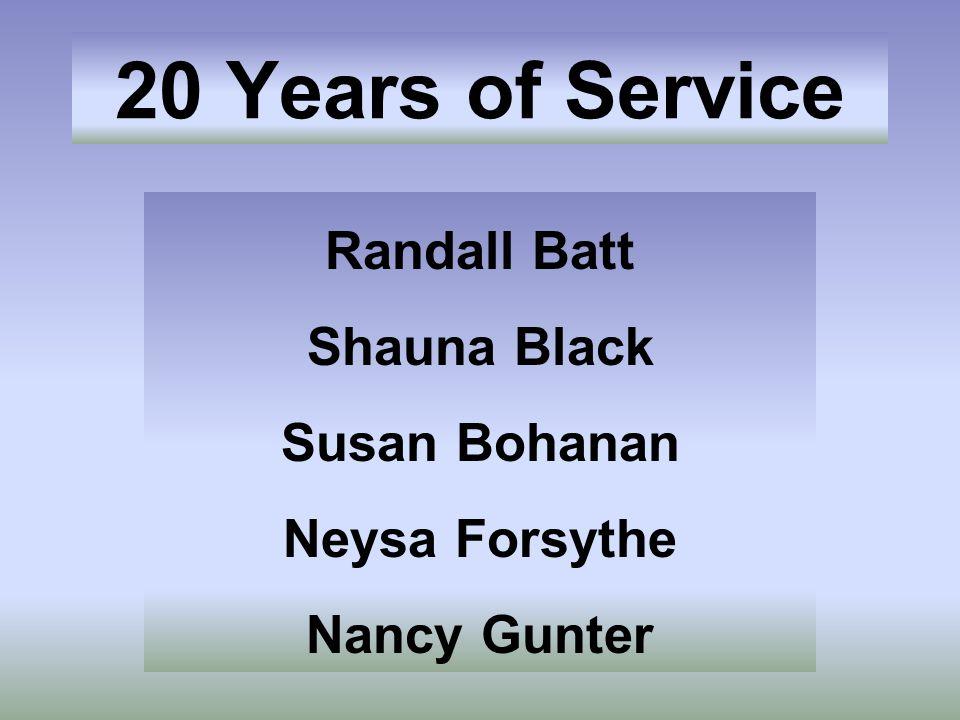 Randall Batt Shauna Black Susan Bohanan Neysa Forsythe Nancy Gunter