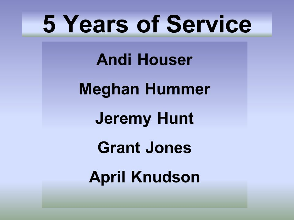 Andi Houser Meghan Hummer Jeremy Hunt Grant Jones April Knudson