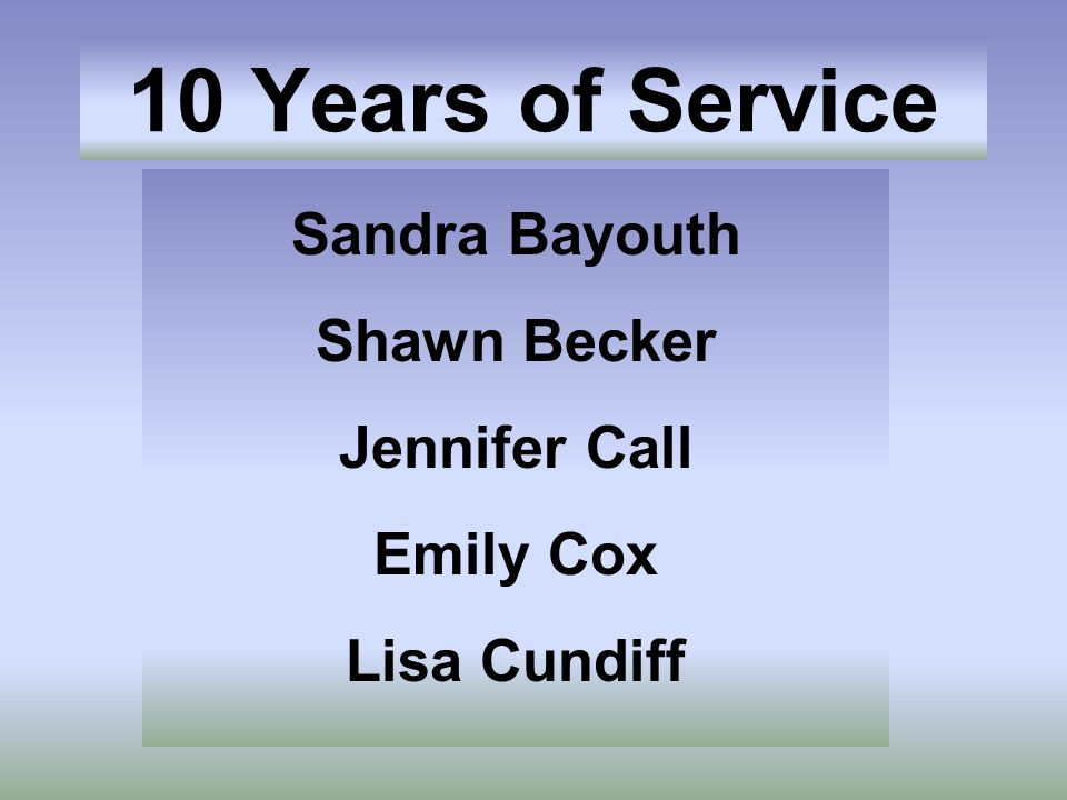 Sandra Bayouth Shawn Becker Jennifer Call Emily Cox Lisa Cundiff