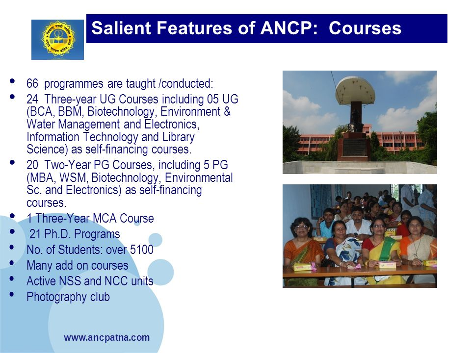 Salient Features of ANCP: Courses Taught