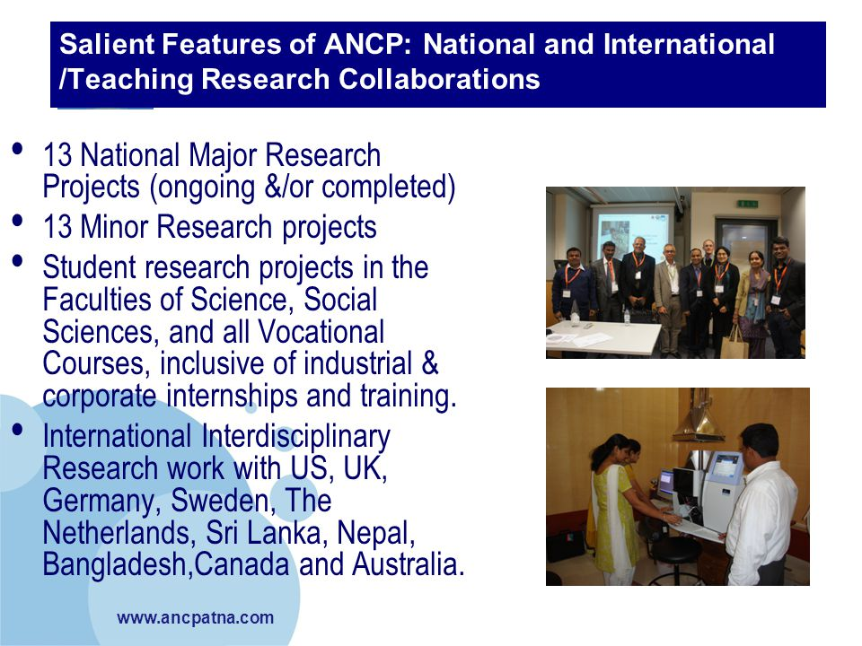 13 National Major Research Projects (ongoing &/or completed)