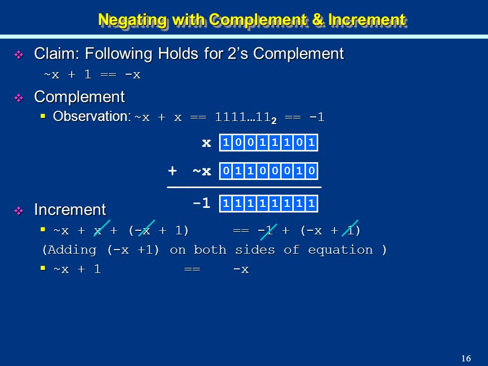 Negating with Complement & Increment