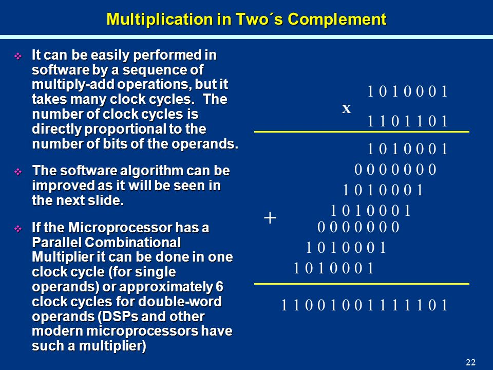 Multiplication in Two´s Complement