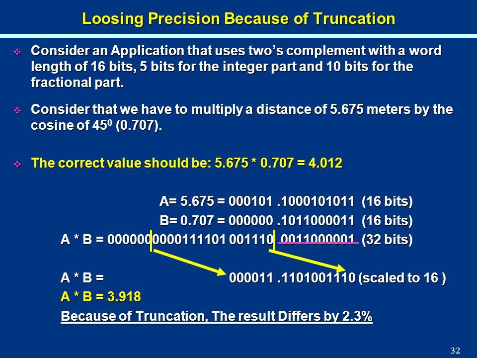 Loosing Precision Because of Truncation