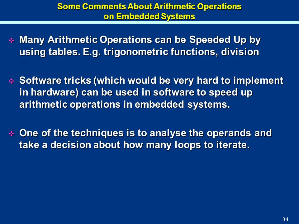Some Comments About Arithmetic Operations on Embedded Systems