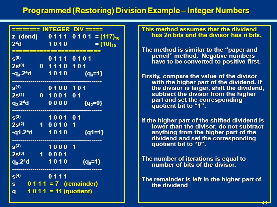 Programmed (Restoring) Division Example – Integer Numbers