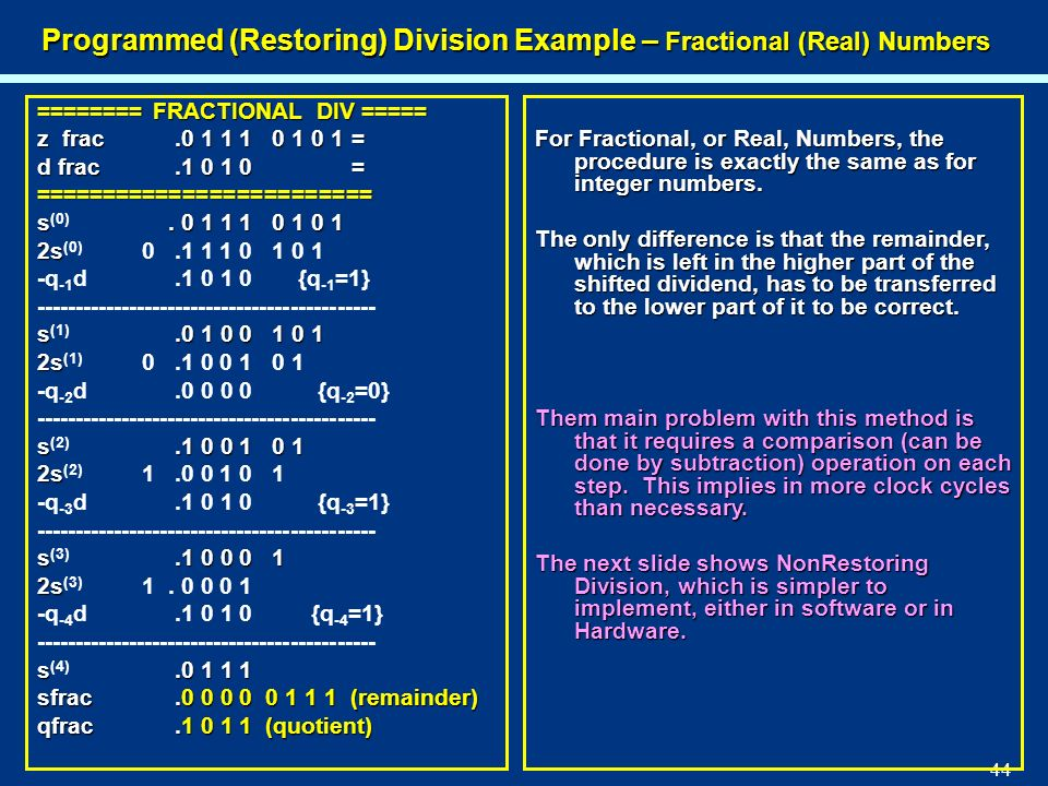 Programmed (Restoring) Division Example – Fractional (Real) Numbers