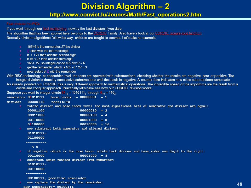 Division Algorithm – 2 http://www. convict