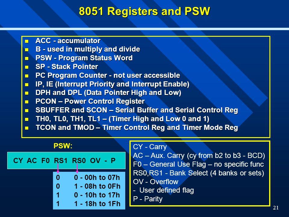 8051 Registers and PSW ACC - accumulator