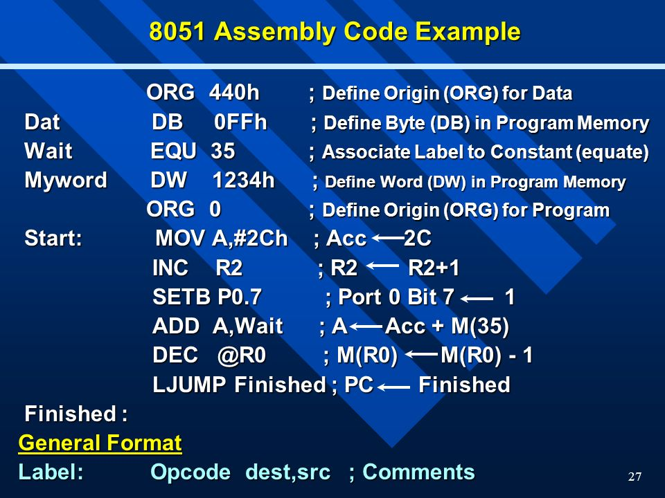 8051 Assembly Code Example ORG 440h ; Define Origin (ORG) for Data
