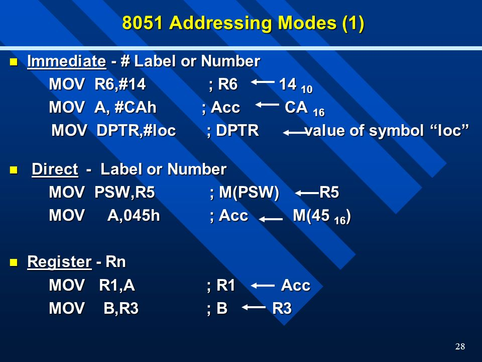 8051 Addressing Modes (1) Immediate - # Label or Number